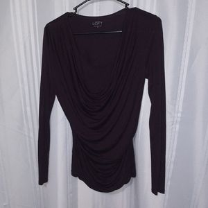 LOFT XS Blouse Drapped Ruched Long Sleeve